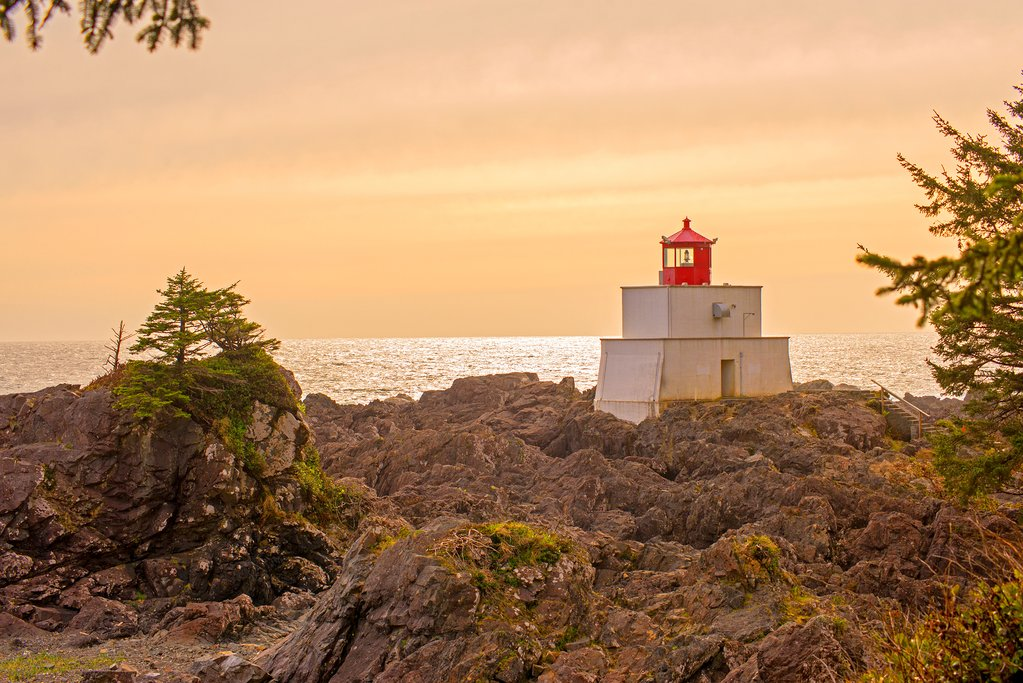 Amphitrite Point Lighthouse near Ucluelet in the Pacific Rim