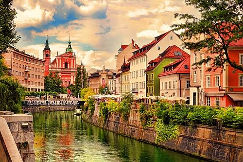 Ljubljana's photogenic riverfront