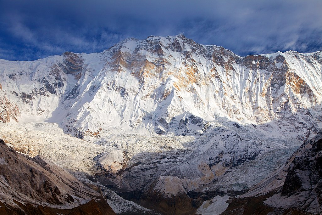 Morning view of Mount Annapurna from Annapurna Base Camp