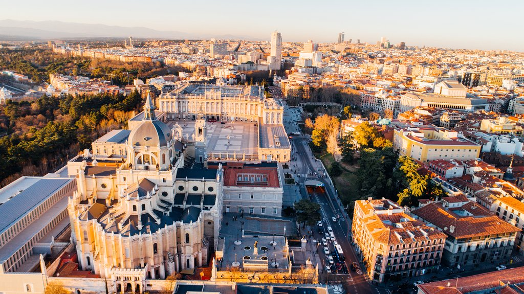 View of Madrid's Royal Palace at Sunset