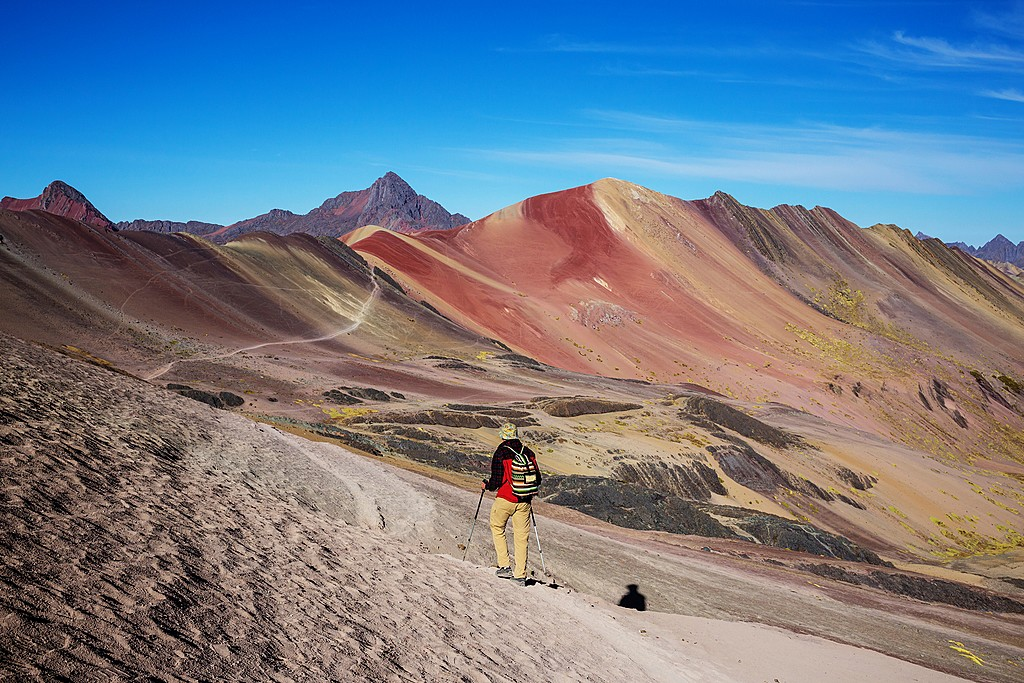 Hiking up Rainbow Mountain near Cusco, Peru
