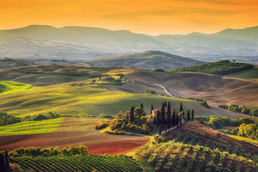 Tuscan countryside at sunrise