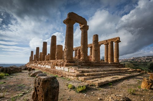 Temple of Juno, an ancient Greek landmark in the Valley of the Temples outside Agrigento.