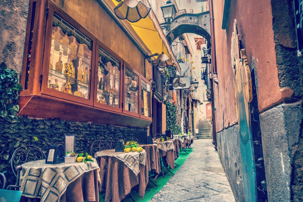 Rustic cafe tables in Amalfi