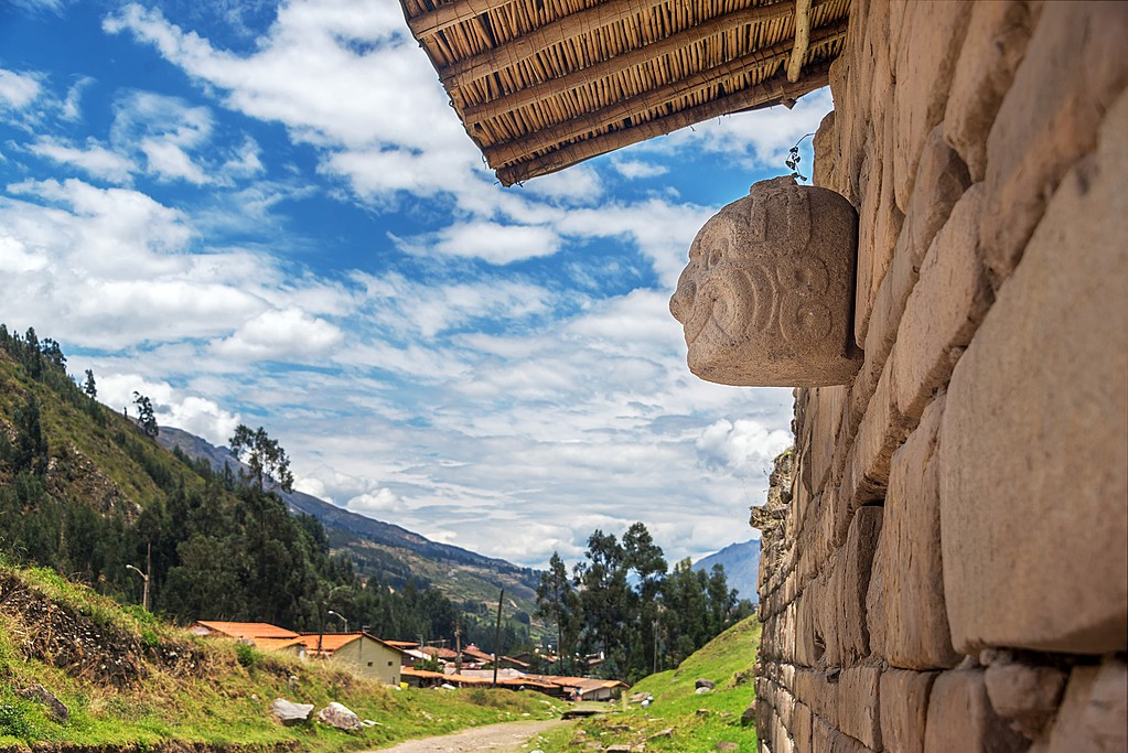 Stone mask on the ancient temple at Chavin de Huantar