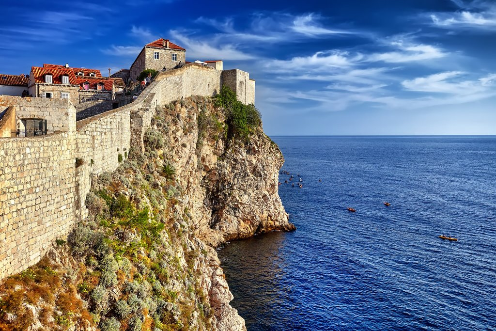 Dubrovnik's old city walls look out to the Adriatic Sea