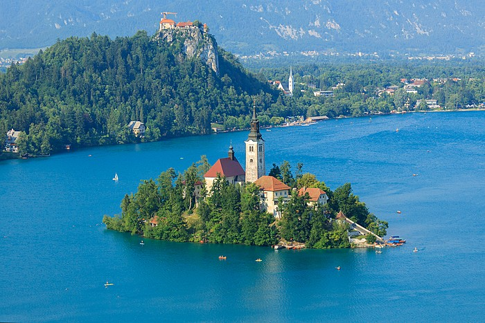 Medieval architecture against a stunning backdrop in Lake Bled
