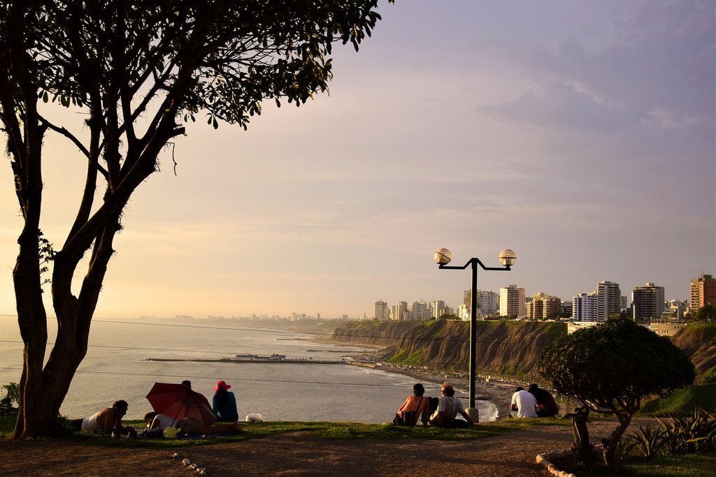 Watching the sunset from the cliffs in Barranco, Lima