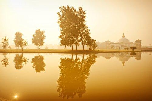 Temple at Lumbini at dawn