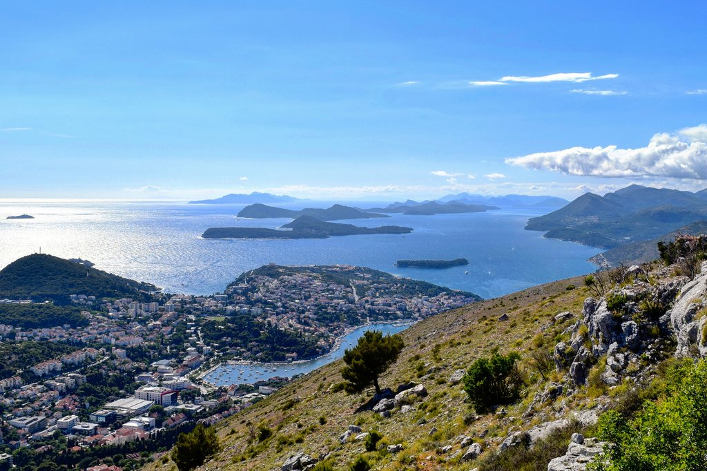 Coastal landscape of Dubrovnik and the Elafiti Islands from Fort Imperijal