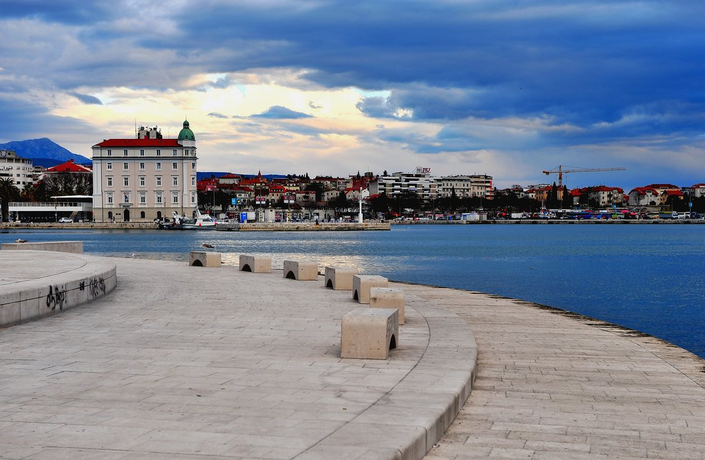 The seafront promenade and historic port of Split, Dalmatia's capital