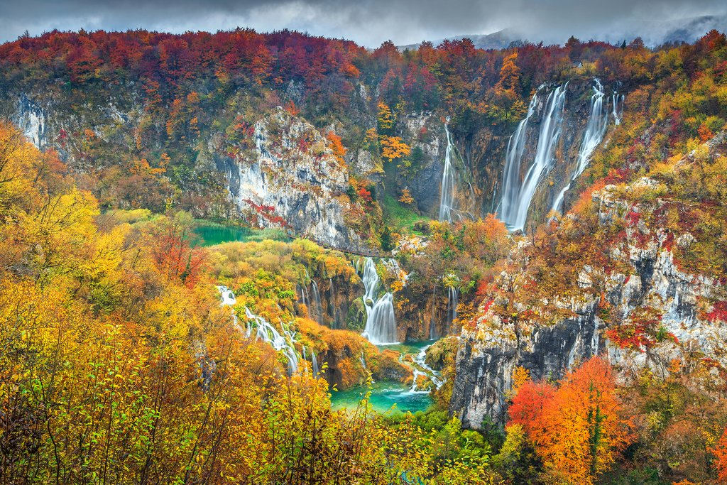 Cascading waterfalls in Plitvice Lakes National Park
