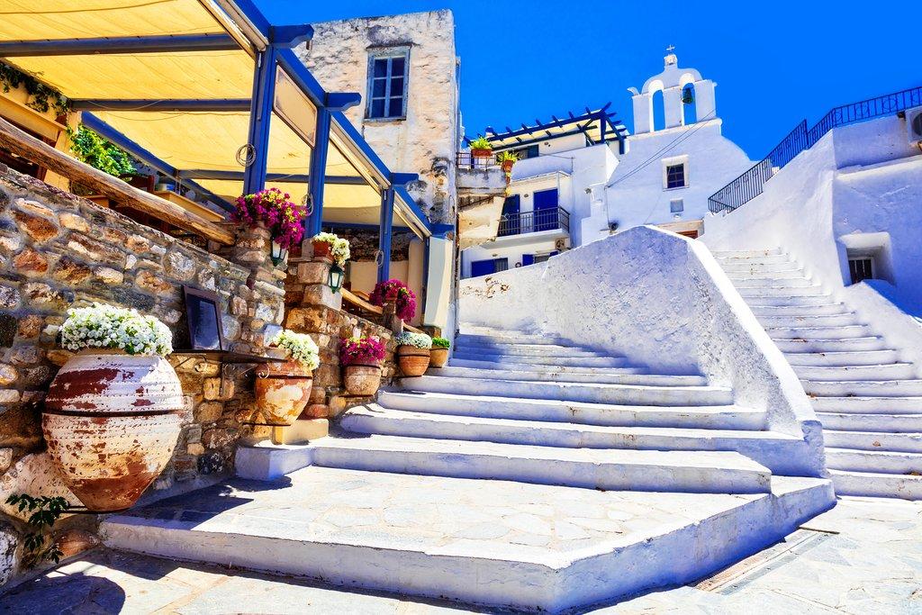 Whitewashed architecture of Naxos Chora