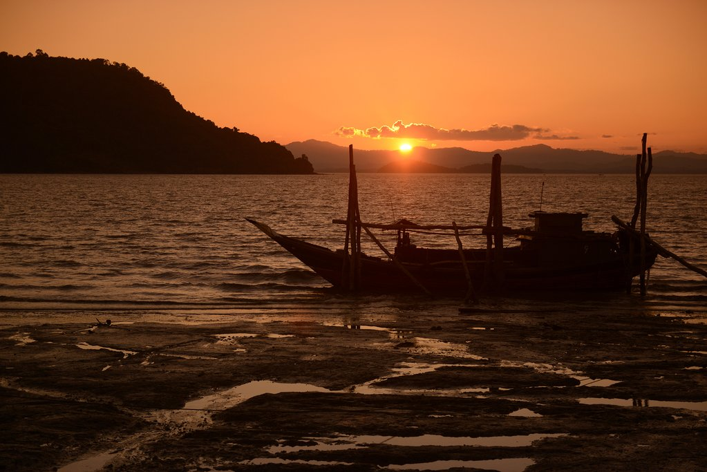 Sunset over the Andaman Sea on the Myeik Archipelago