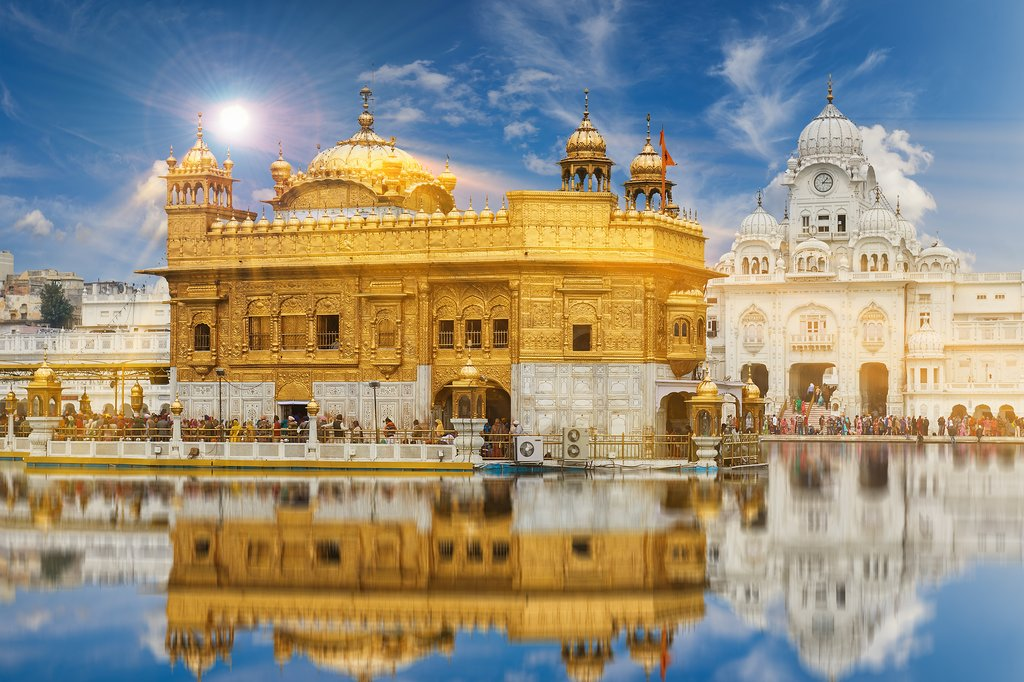 The gilded Golden Temple is the most important pilgrimage site of Sikhism