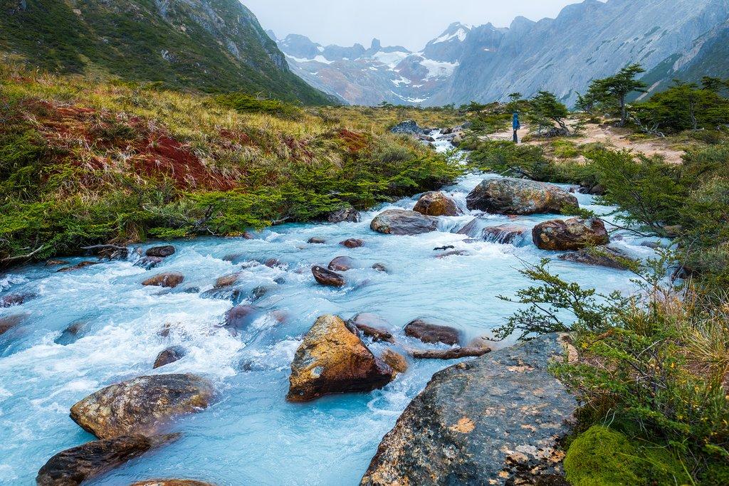 A turquiouse river in Valle de Lobos hiking trail near Ushuaia