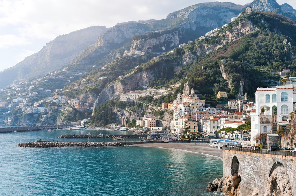 Mountains and Beach in Amalfi