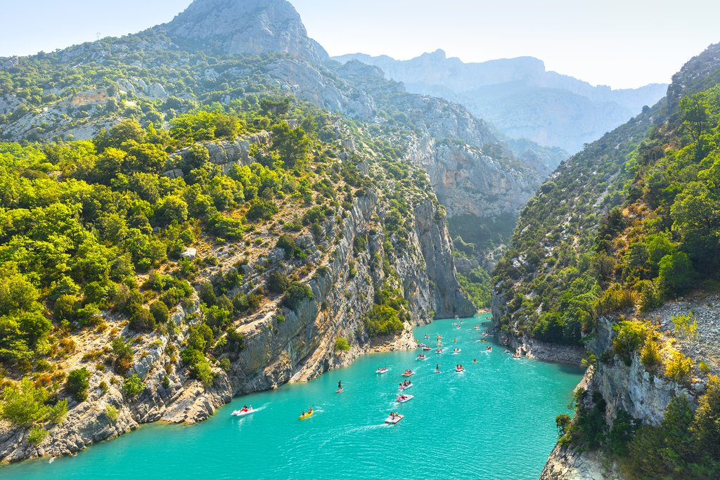 Verdon River flowing into the gorge