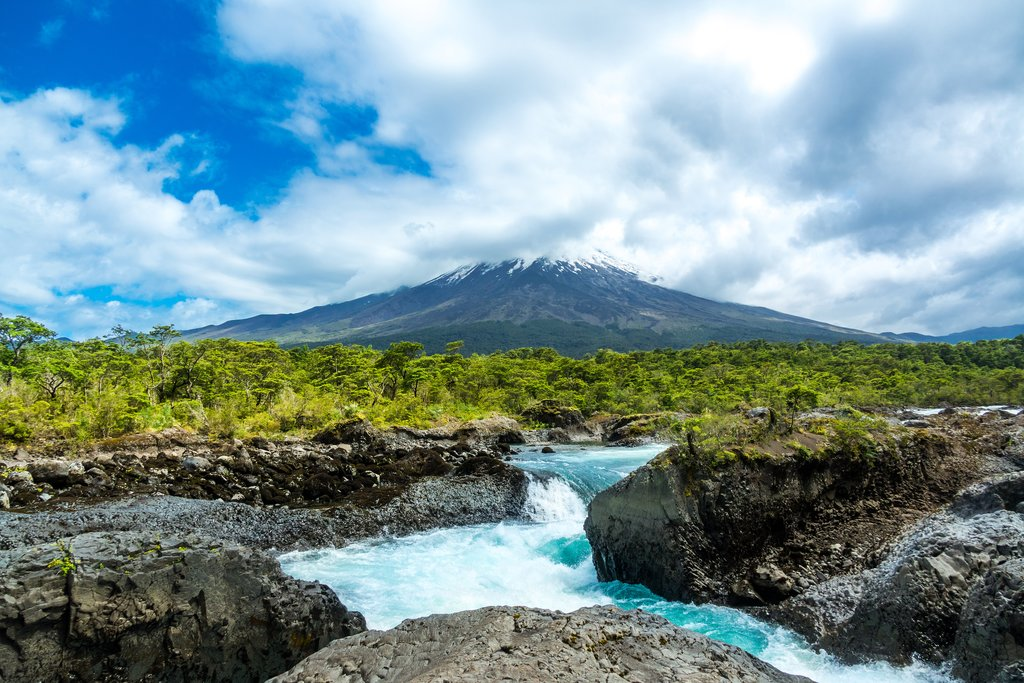 View of Osorno volcano from Petrohue waterfall