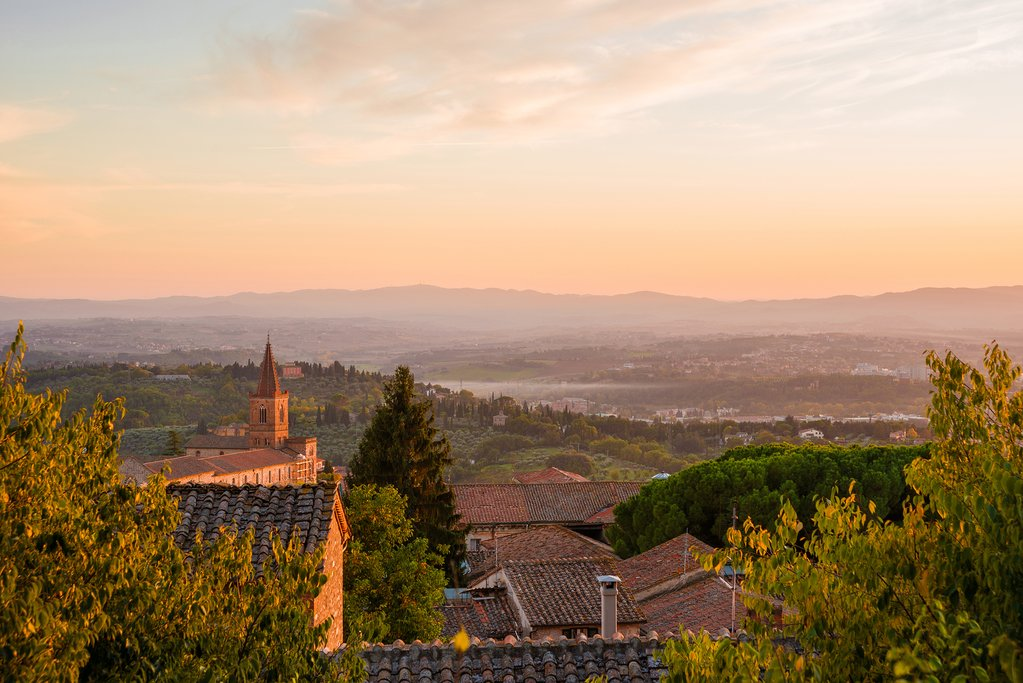 Sunset over the countryside around Perugia.