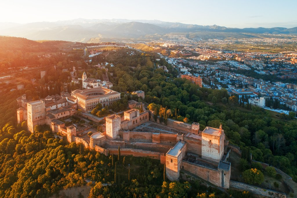 Aerial View of the Alhambra at Sunset