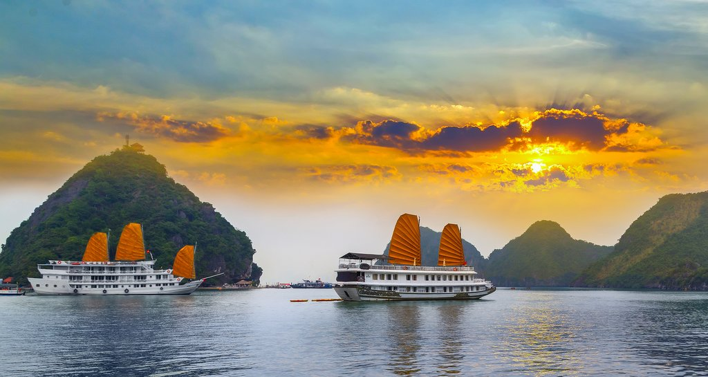 Golden-sailed junk boats in Hạ Long Bay