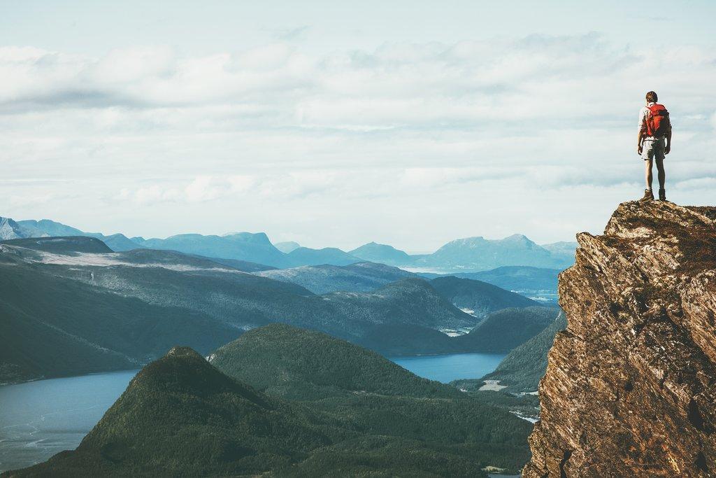 Hiking one of Norway's peaks
