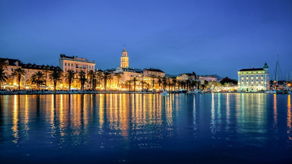 Split's waterfront view at dusk