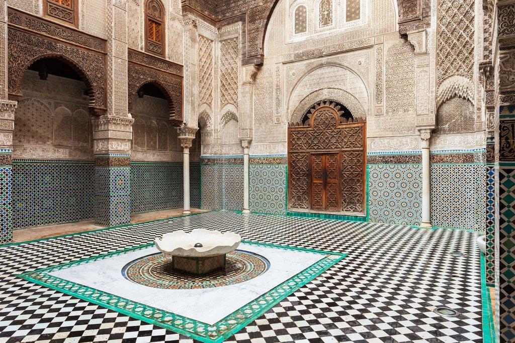 Inside the Al-Attarine Madrasa in Fes