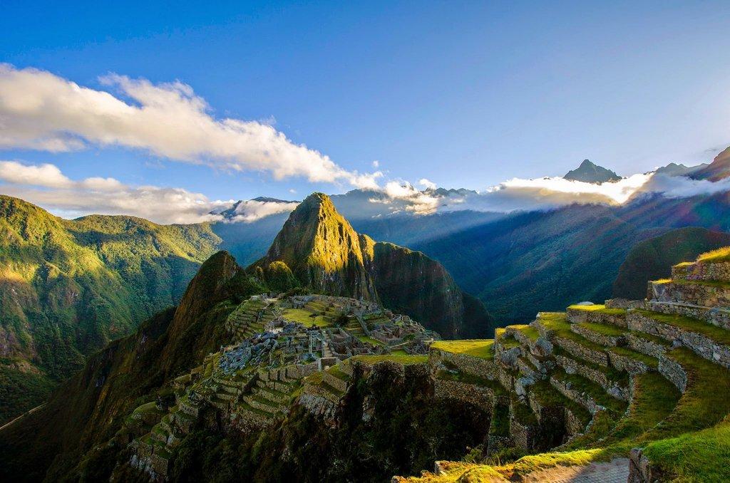 Machu Picchu shining in the sun