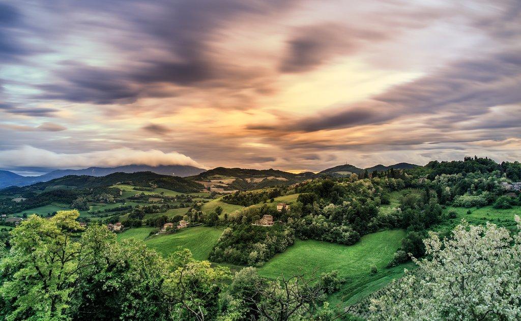 Views across the Marche countryside near Urbino.