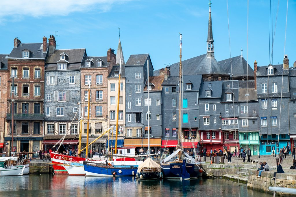 The old port of Honfleur in Normandy, France