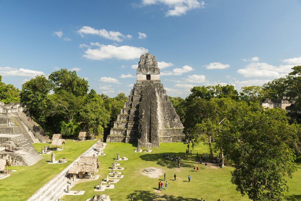 Explore the ancient Mayan complex of ruins at Tikal