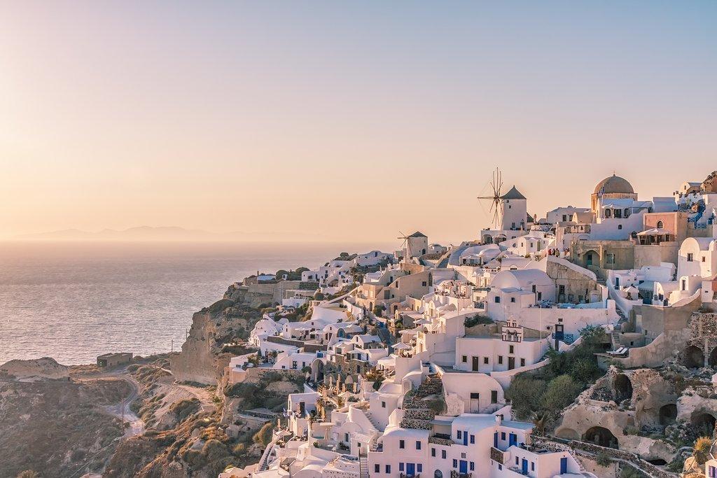 The Santorini village of Oia at sunset.