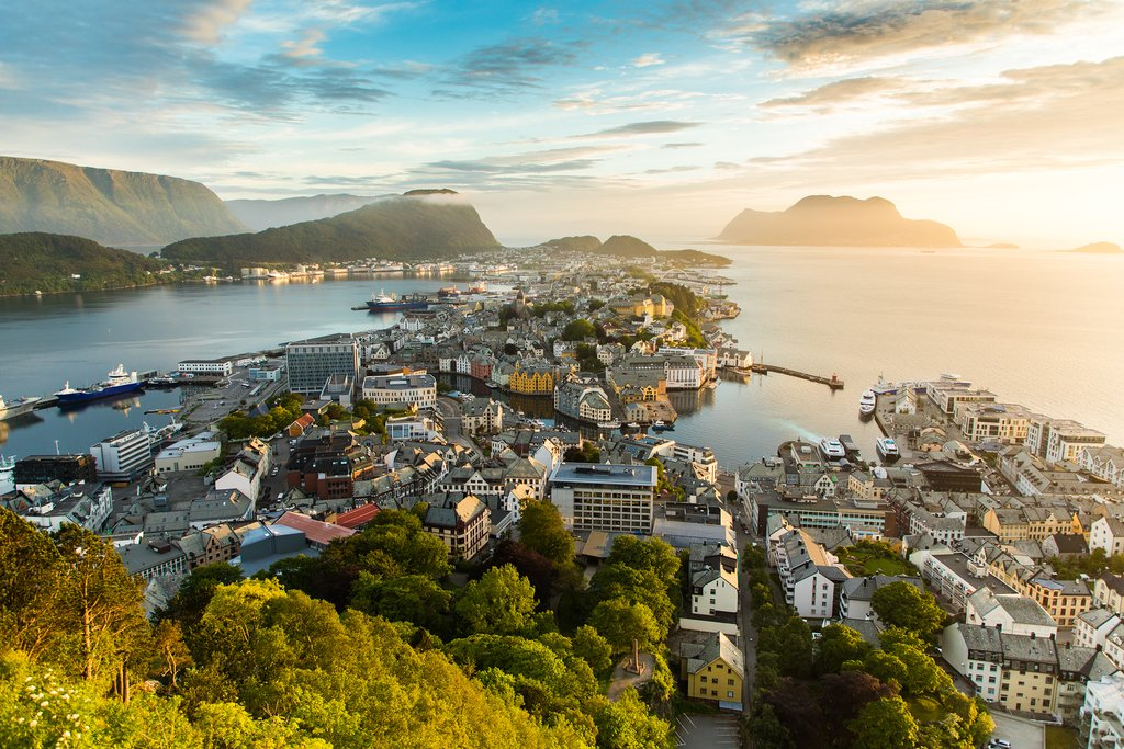 Ålesund on the west coast is a gateway to many fjords