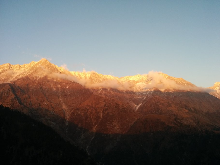 A view of the Dharamsala range at sunrise