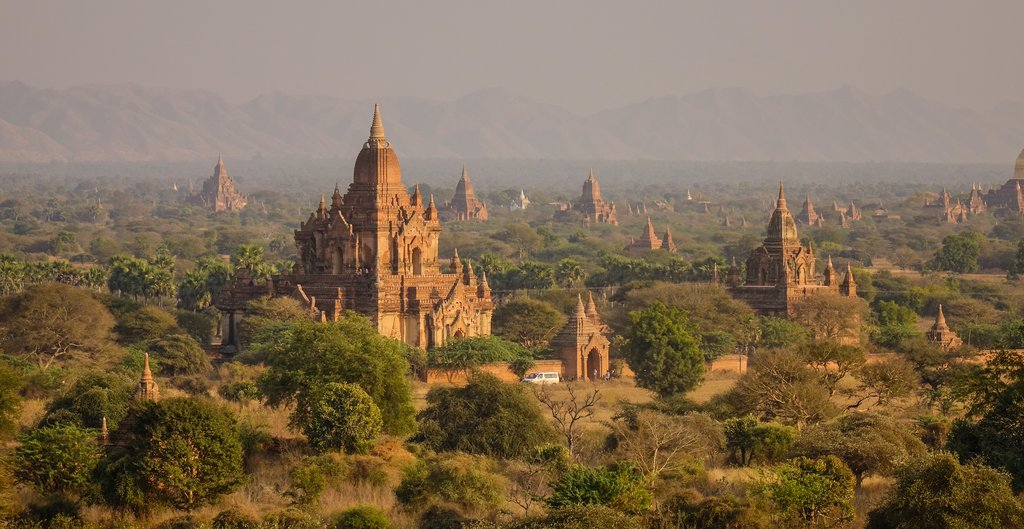 Many ancient temples in Bagan, Myanmar. Bagan is an ancient city in central Myanmar (formerly Burma), southwest of Mandalay.