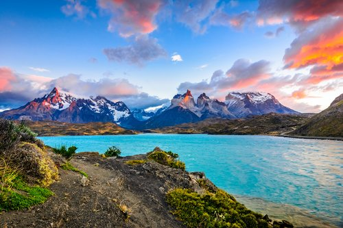 Sunset over Lake Pehoe in Southern Patagonia.