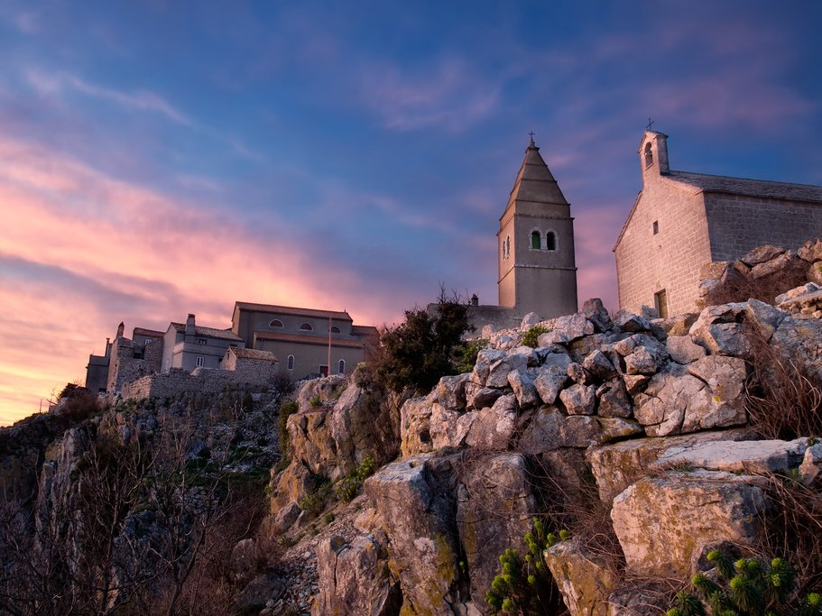 Sunset over medieval Lubenice on Cres Island