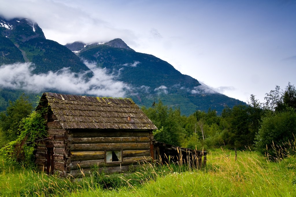 An old, abandoned cabin near Bella Coola in the Great Bear Rainforest