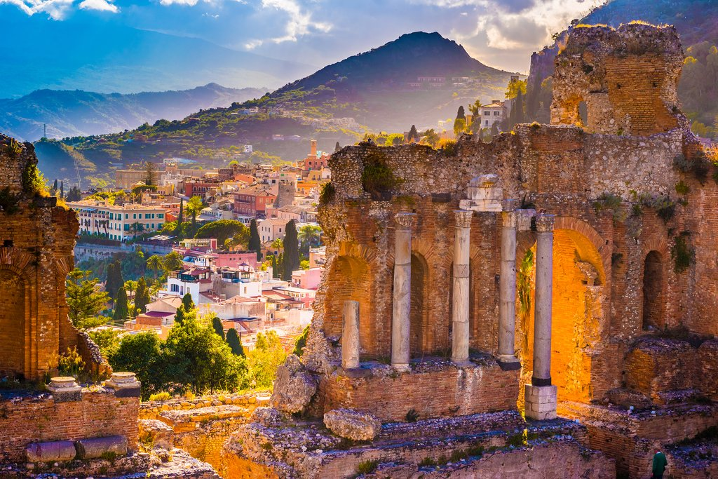 The ruins of Taormina theater at sunset