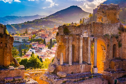 The ruins of Taormina theater at sunset