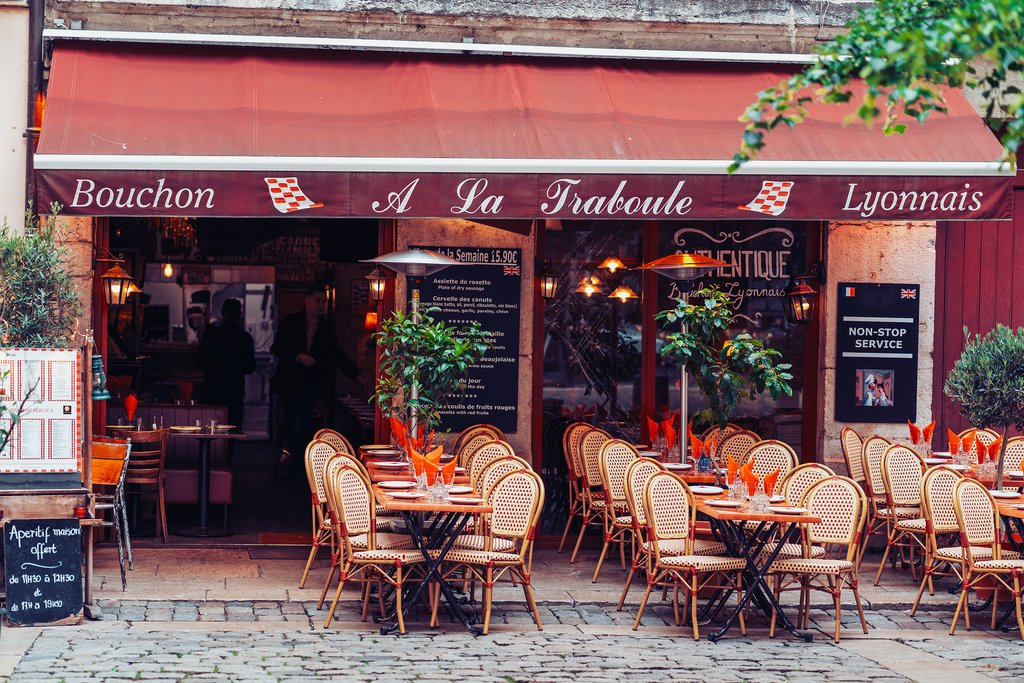 Street and cafe scene in Old Lyon