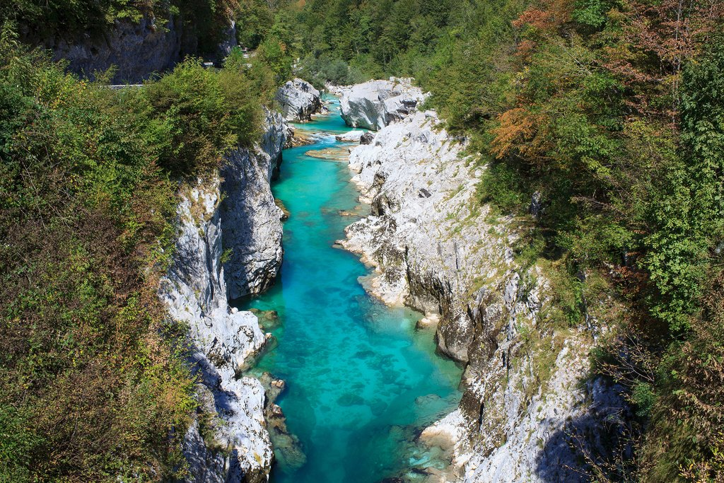 Aerial view of the Striking Soča River