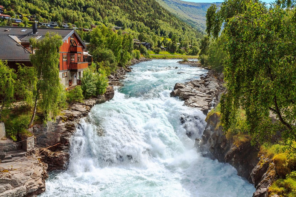 A rushing river in the town of Lom—gateway to Jotunheimen National Park