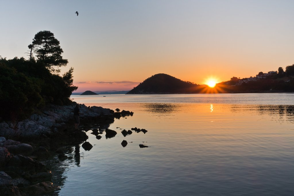 Sunset over Panormos Bay in Skopelos