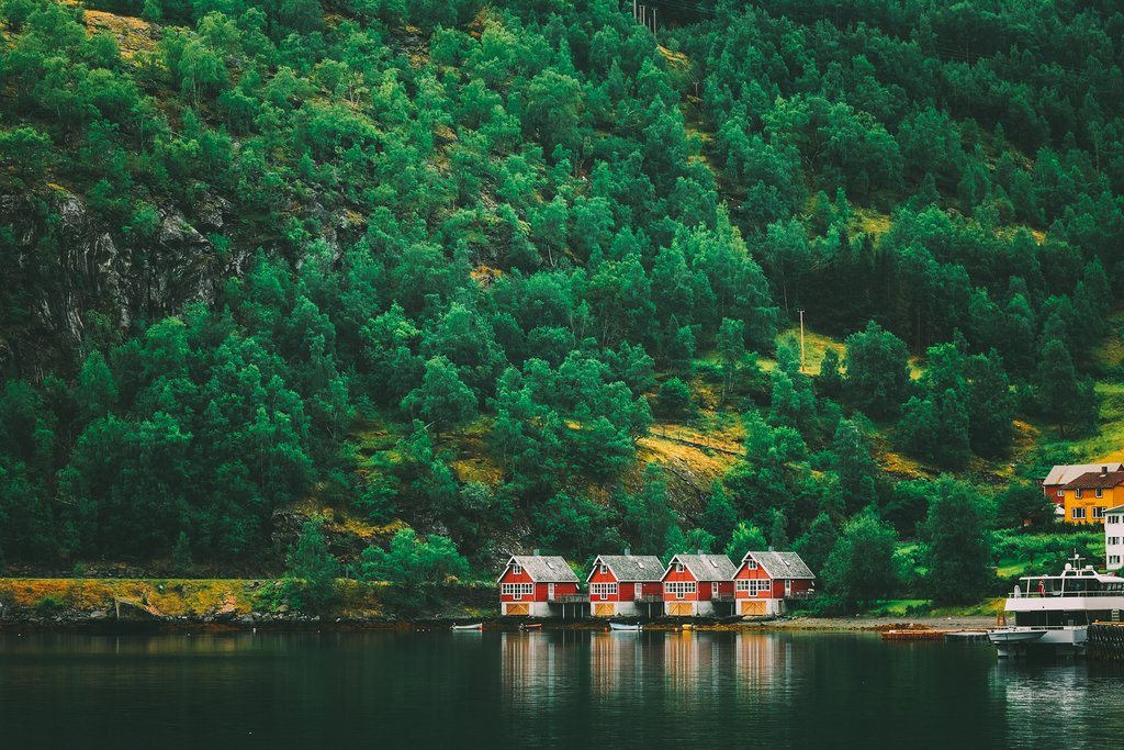 Catch a fjordcruise to Bergen in the village of Flåm