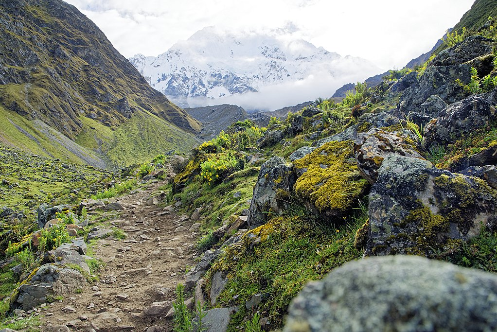 Trail with a view of Nevado Salkantay