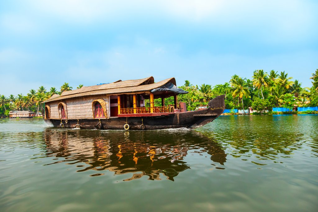 A wooden houseboat on the Kerala backwaters