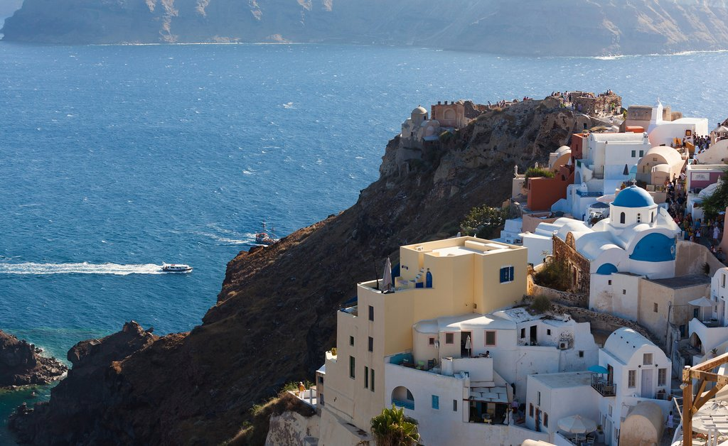 Aerial view of Oia on the island of Santorini